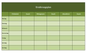 Ernährungsplan als Excelvorlage